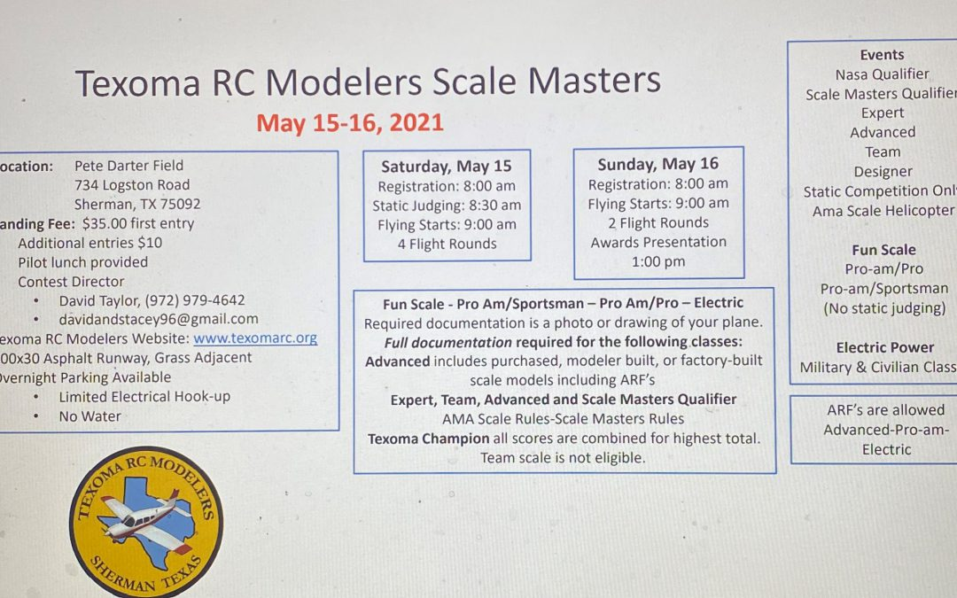 Texoma RC Modelers Scale Masters May 15-16, 2021
